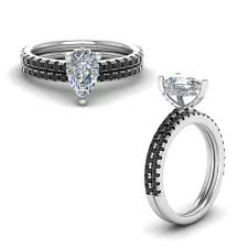 black diamond bridal set black diamond prong pear shaped bridal set in 14k white
