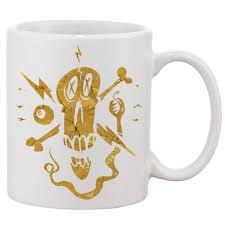 fancy skull gold white 11 oz printing ceramic coffee mug mug