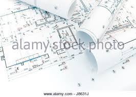 Renovation Project Plan Architectural Project And House Plan Blueprints Rolled Up Stock