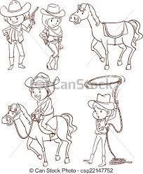 clipart vector of simple sketches of a cowboy illustration of