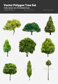 green trees vector 3 sets with 24 vector green
