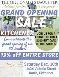 13 off kitchener store wide grand opening sale saturday december