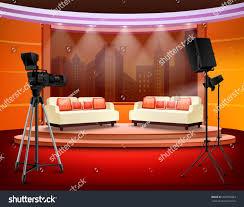 Studio Interior Talk Show Studio Interior Comfortable Sofas Stock Vector 392750083
