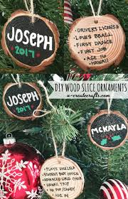 ornaments to personalize diy wood slice ornaments personalize on back with memories
