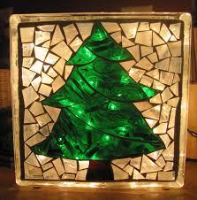 mosaic tree glass block with lights glass bottles etc