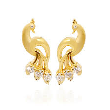 peacock design earrings in gold peacock gold stud my collections gold studs
