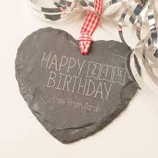 engraved heart shaped slate hanging keepsake happy 21st birthday