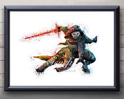 star wars kylo ren watercolor art silhouette poster print wall