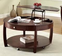 movable rounded lift top coffee table with single drawer also one