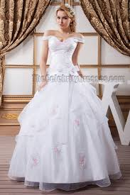 gorgeous ball gown off the shoulder embroidered wedding dress