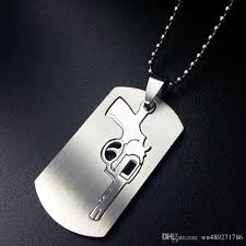 engraved dog tags for men novelty pistol design pendant necklace fashion shinny silver color
