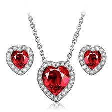 swarovski hearts necklace images Ladycolour true love ruby heart necklace and earrings jpg