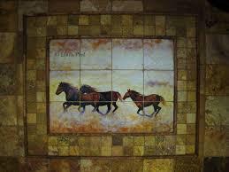 mural tiles for kitchen backsplash murals horses western tile mural backsplash artist