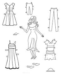 paper doll colouring sheets lady color cut frozen dolls