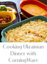 cooking ukrainian dinner with corningware
