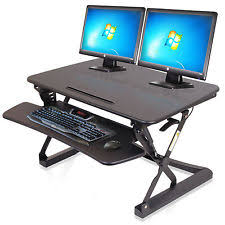 black adjustable height sit stand desktop workstation for computer