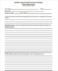 middle school book report template sle book report forms 9 free documents in word pdf