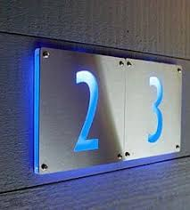 Lighted House Number Sign Modern House Numbers Concrete With Blue Acrylic Contemporary