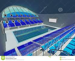 simple indoor olympic swimming pool and outside of water cube was