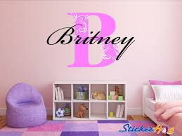 Wall Decals For Girls Bedroom Monogram Wall Decal Floral Letter Name For Girls Room