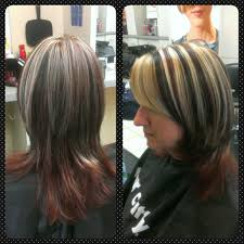hair color with foils 3 different color dark brown red and