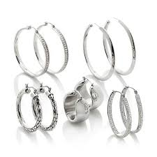 earring hoops stately steel set of 5 hoop earrings 7371339 hsn