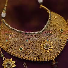 wedding jewellery ch0977 broad choker necklace antique ad stones grand wedding