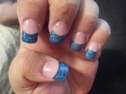 blue french tip nail designs health u0026 beauty sparkly blue