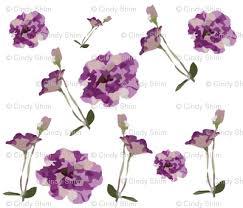 purple garden flowers pattern fabric cutiecat spoonflower