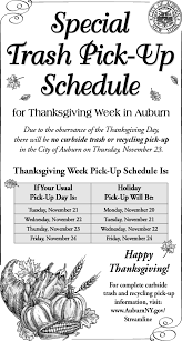 city of auburn ny thanksgiving day week special trash up