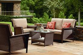 Wicker Patio Table And Chairs Ty Pennington Style Parkside 4 Piece Deep Seating Set