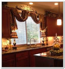 Fancy Kitchen Curtains Furniture Traditional Kitchen With Brown Wood Kitchen Counter