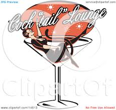 birthday martini clipart woman in a cat costume lying in a giant martini glass at a
