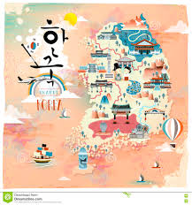 Korean Design Korea Travel Map Design Stock Illustration Image 74356665
