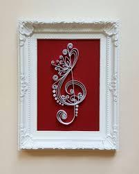 treble clef art frame music art music wall art paper art