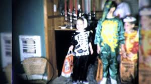 kids get candy trick or treaters halloween night children vintage