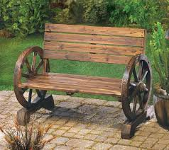 Bench Outdoor Furniture The Rustic Wagon Wheel Garden Bench