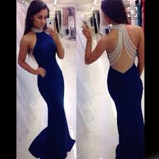 royal blue dress prom dress royal blue mermaid high neck with beading