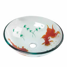 glass vessel sink with drain clear single layer with koi fish painted