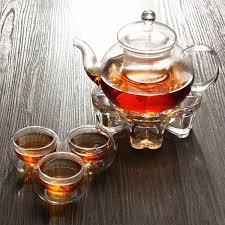 Tea Light Oil Warmer Chinese Gongfu Glass Tea Pot Set With Infuser Filter Tea Light