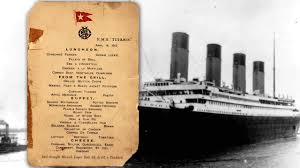 Titanic Second Class Menu by Last Titanic Lunch Menu Saved By Survivor Fetches 88 000 At