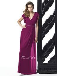 merlot v neckline bridesmaid dress full length chiffon evening