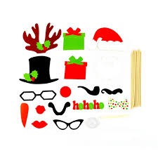 Christmas Photo Booth Props 17pcs Set Diy Mustache Glasses Hat Photo Booth Props Wedding