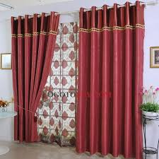 fancy polyester draped decorative floral red curtains buy red