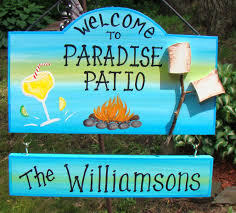welcome to our patio paradise backyard picnic camp sign with your