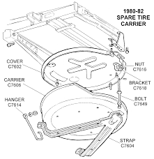 corvette spare tire 1980 82 spare tire carrier diagram view chicago corvette supply