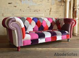 Patchwork Chesterfield - modern and handmade bold berry patchwork chesterfield sofa