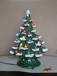 christmas tree with snow vintage ceramic christmas tree electric plastic bird bulbs snow