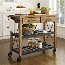 shop crosley furniture rustic kitchen cart at lowes com