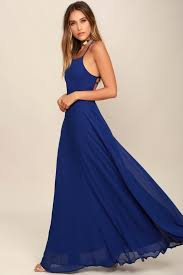 dress blue chic royal blue dress lace up dress backless dress maxi